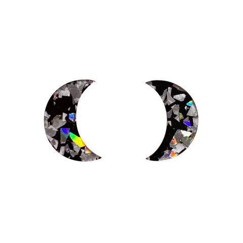 Holographic Silver Crescent Moon Chunky Glitter Resin Stud Earrings (Erstwilder Halloween Essentials) - Glitterally.co.uk