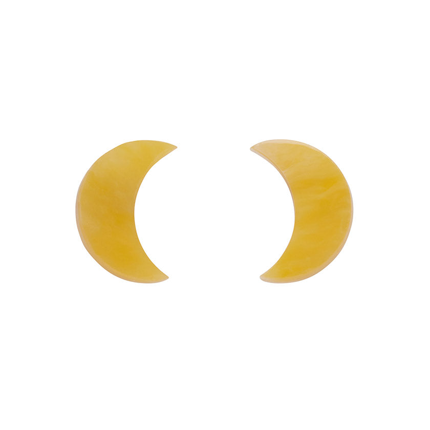 Yellow Crescent Moon Marble Resin Stud Earrings (Erstwilder Halloween Essentials) - Glitterally.co.uk