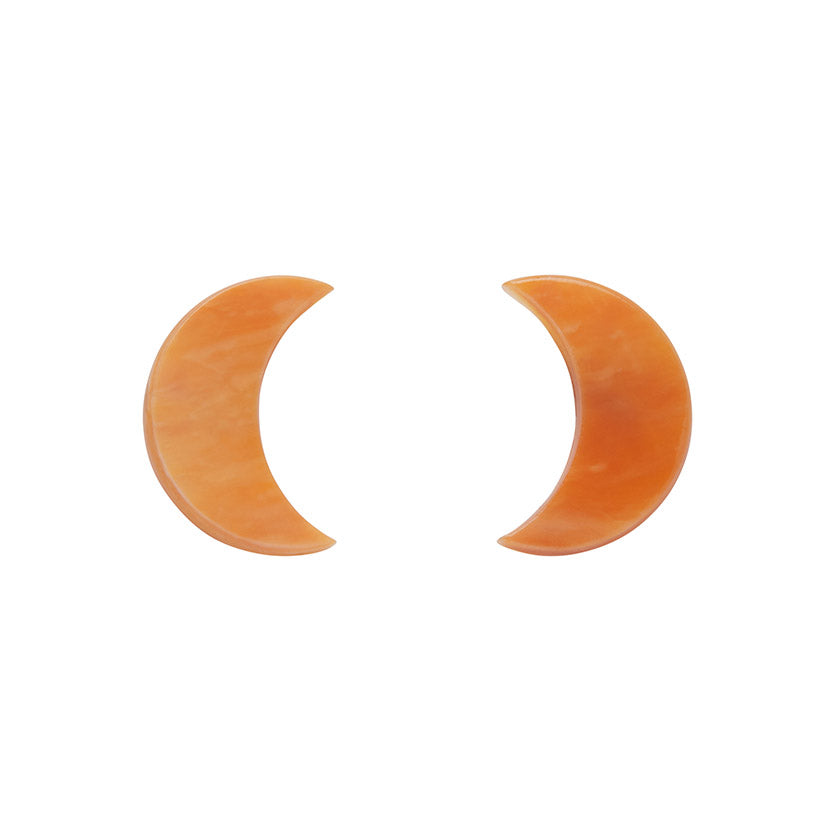 Orange Crescent Moon Marble Resin Stud Earrings (Erstwilder Halloween Essentials) - Glitterally.co.uk