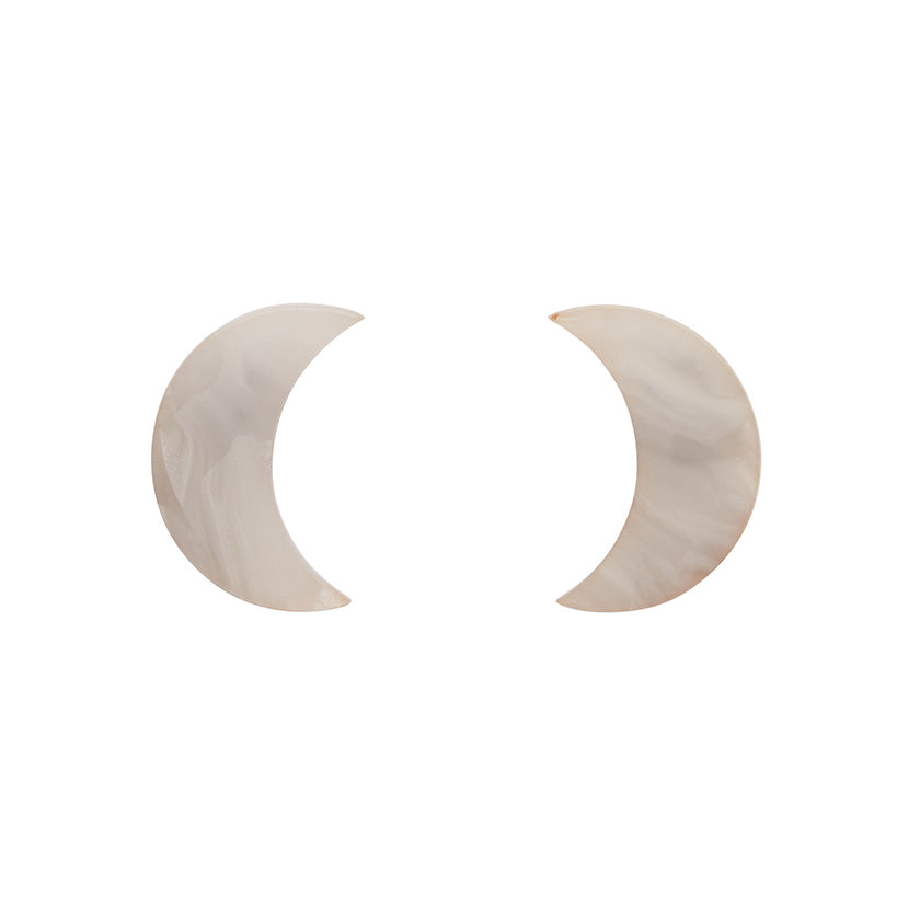 CRESCENT MOON MARBLE RESIN STUD EARRINGS - WHITE (Erstwilder Pete Cromer Essentials) - Glitterally.co.uk