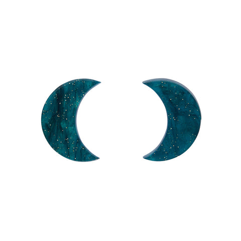 Crescent Moon Ripple Glitter Resin Stud Earrings - Emerald (Erstwilder Art Nouveau Essentials)