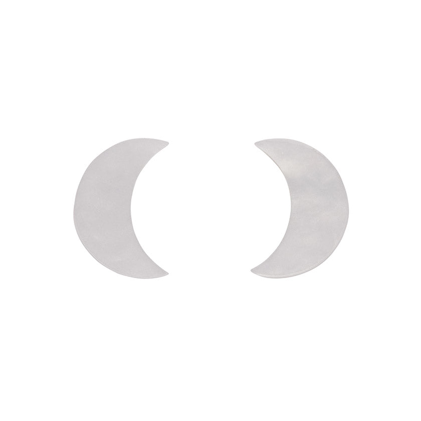 White Crescent Moon Ripple Resin Stud Earrings (Erstwilder Halloween Essentials)