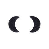 Black Crescent Moon Glitter Resin Stud Earrings (Erstwilder Halloween Essentials) - Glitterally.co.uk