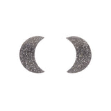 Silver Crescent Moon Glitter Resin Stud Earrings (Erstwilder Halloween Essentials) - Glitterally.co.uk