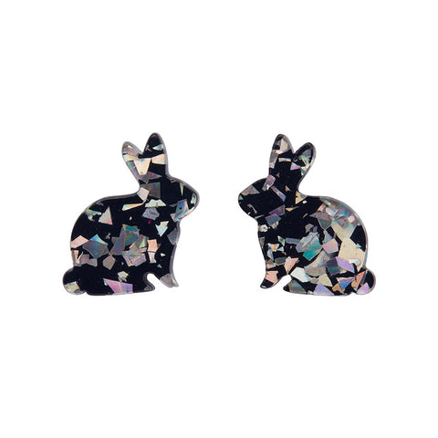 Bunny Chunky Glitter Resin Earrings - Holographic Silver (Erstwilder Bunny Earrings) - Glitterally.co.uk
