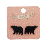 Bear Solid Resin Stud Earrings - Black (Erstwilder Woodlands Essentials Earrings)