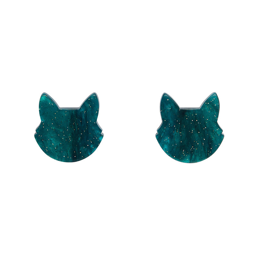 Cat Head Ripple Glitter Resin Stud Earrings - Green (Erstwilder Halloween Essentials Earrings)