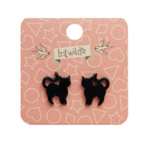 Cat Solid Resin Stud Earrings - Black (Erstwilder Halloween Essentials Earrings)