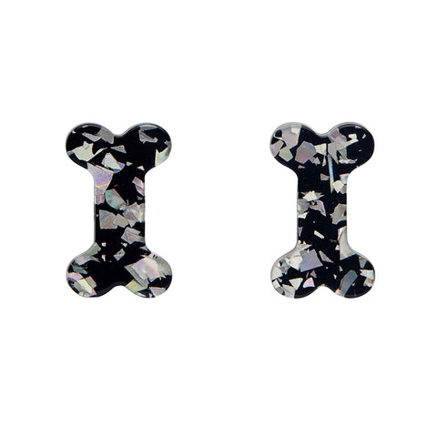 Bones Glitter Resin Stud Earrings - Silver (Erstwilder Halloween Essentials Earrings)