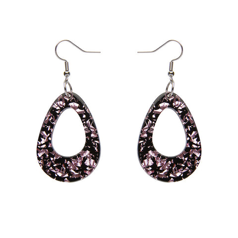 TEARDROP CHUNKY GLITTER RESIN DROP EARRINGS - PINK (Erstwilder Essentials Resin Drop Earrings) - Glitterally.co.uk