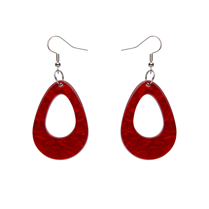 TEARDROP RIPPLE RESIN DROP EARRINGS - RED (Erstwilder Essentials Resin Drop Earrings) - Glitterally.co.uk