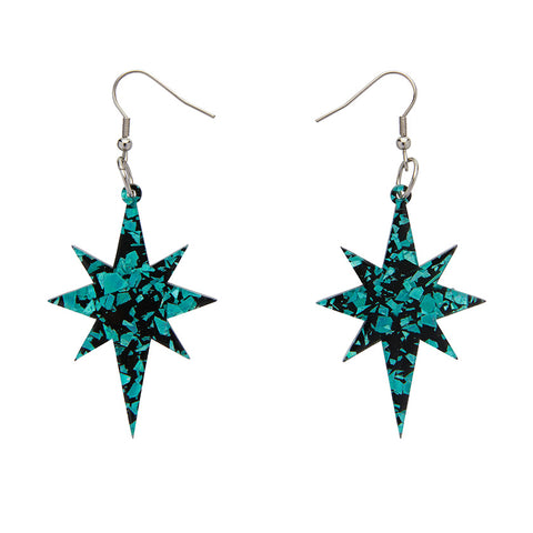 Starburst Chunky Glitter Resin Drop Earrings - Teal (Erstwilder Art Nouveau Essentials)