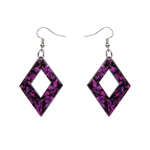 DIAMOND CHUNKY GLITTER RESIN DROP EARRINGS - FUCHSIA (Erstwilder Essentials Resin Drop Earrings) - Glitterally.co.uk