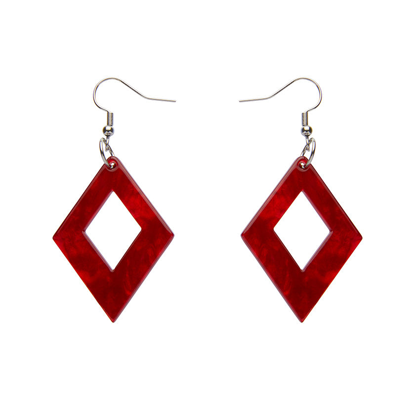 DIAMOND RIPPLE RESIN DROP EARRINGS - RED (Erstwilder Essentials Resin Drop Earrings) - Glitterally.co.uk