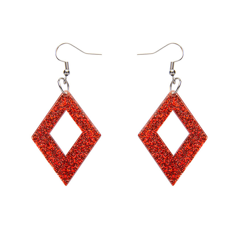 DIAMOND GLITTER RESIN DROP EARRINGS - RED (Erstwilder Essentials Resin Drop Earrings) - Glitterally.co.uk
