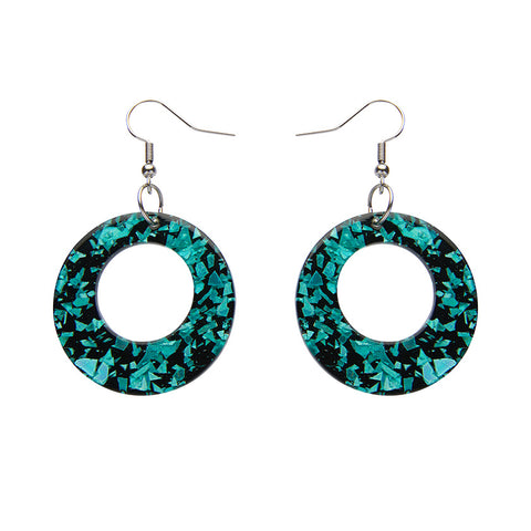 CIRCLE CHUNKY GLITTER RESIN DROP EARRINGS - MINT (Erstwilder Essentials Resin Drop Earrings) - Glitterally.co.uk