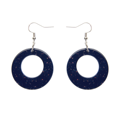 CIRCLE SOLID GLITTER RESIN DROP EARRINGS - DARK BLUE (Erstwilder Essentials Resin Drop Earrings) - Glitterally.co.uk