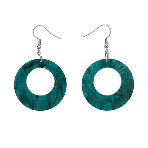 Circle Ripple Glitter Resin Drop Earrings - Emerald (Erstwilder Art Nouveau Essentials)