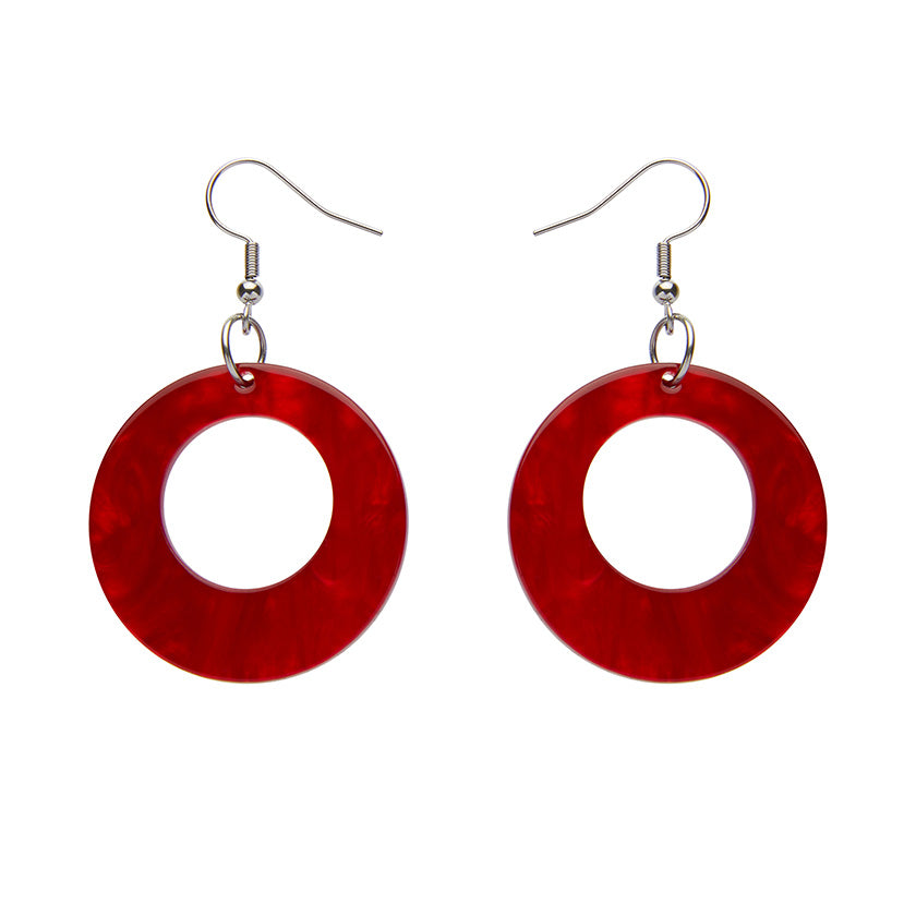 CIRCLE RIPPLE RESIN DROP EARRINGS - RED (Erstwilder Essentials Resin Drop Earrings)