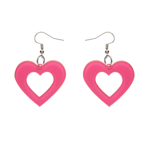 HEART BUBBLE RESIN DROP EARRINGS - PINK (Erstwilder Essentials Resin Drop Earrings) - Glitterally.co.uk