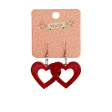 HEART RIPPLE RESIN DROP EARRINGS - RED (Erstwilder Essentials Resin Drop Earrings) - Glitterally.co.uk