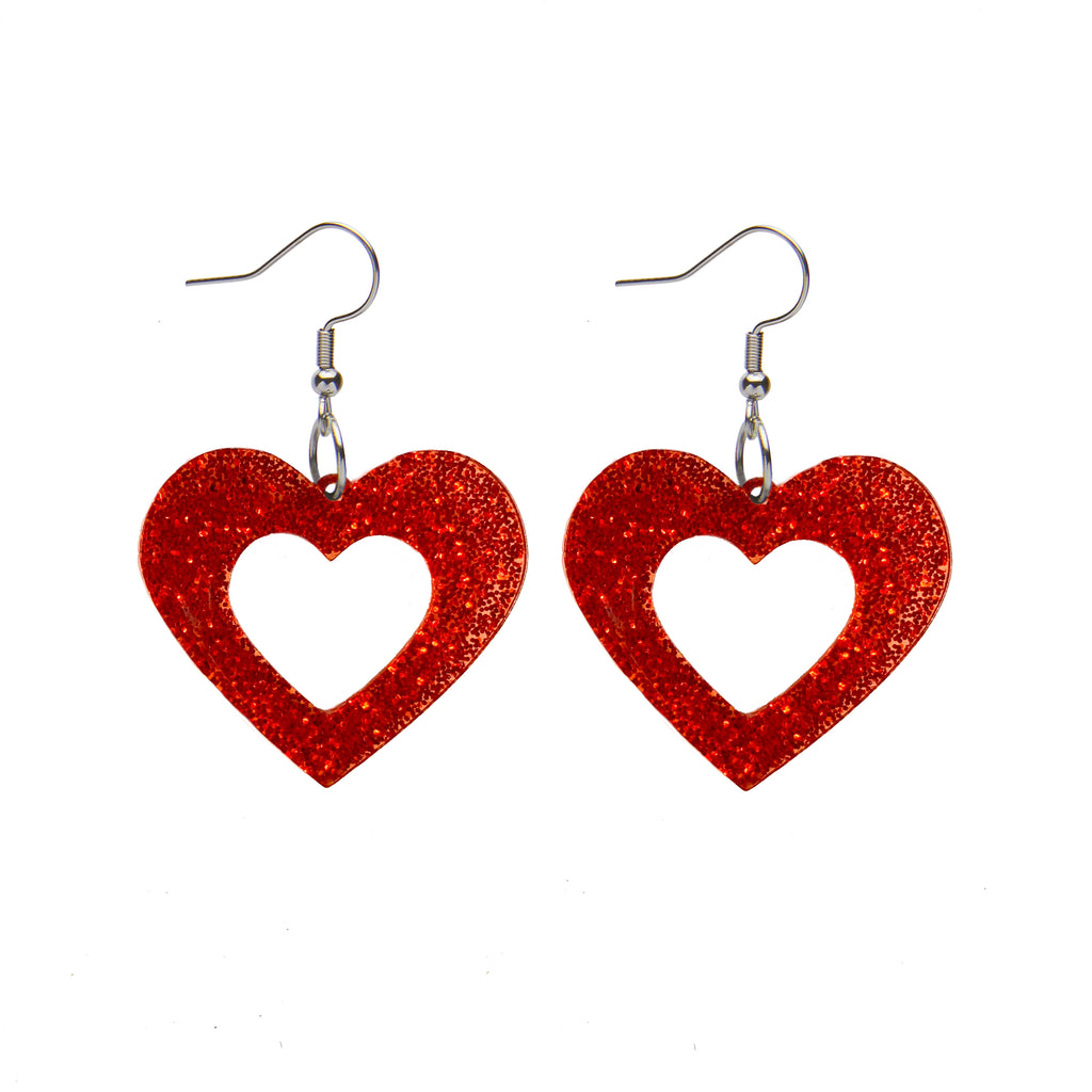 HEART GLITTER RESIN DROP EARRINGS - RED (Erstwilder Essentials Resin Drop Earrings) - Glitterally.co.uk