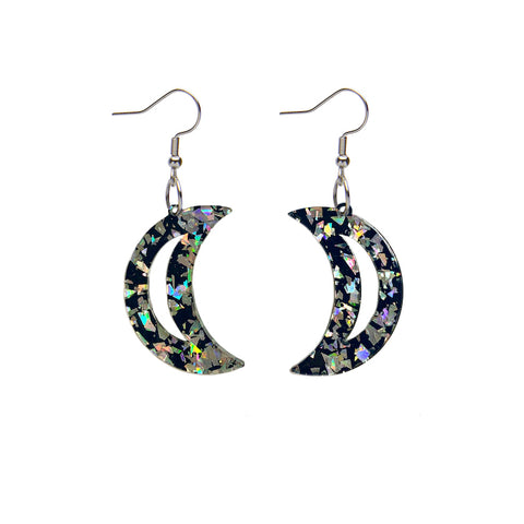 CRESCENT MOON CHUNKY GLITTER RESIN DROP EARRINGS - HOLOGRAPHIC SILVER (Erstwilder Essentials Resin Drop Earrings) - Glitterally.co.uk