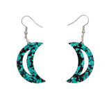 Crescent Moon Chunky Glitter Resin Drop Earrings - Teal (Erstwilder Art Nouveau Essentials)