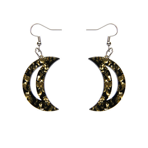 CRESCENT MOON CHUNKY GLITTER RESIN DROP EARRINGS - GOLD (Erstwilder Essentials Resin Drop Earrings) - Glitterally.co.uk