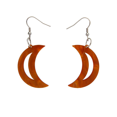 Crescent Moon Ripple Resin Drop Earrings - Gold  (Erstwilder Art Nouveau Essentials)