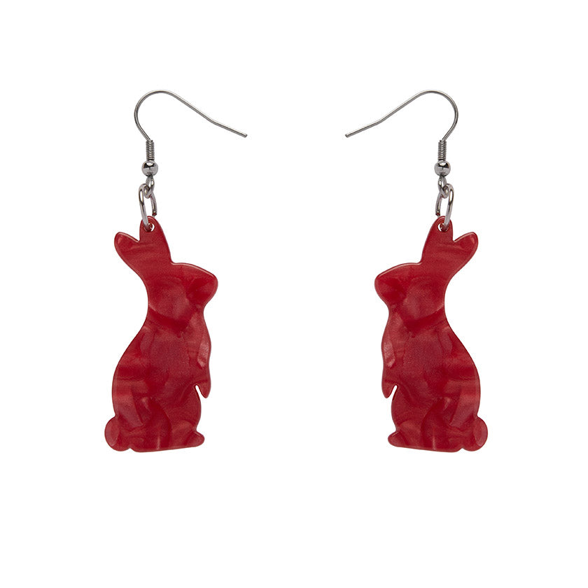 Bunny Textured Resin Drop Earrings - Red (Erstwilder Bunny Earrings) - Glitterally.co.uk
