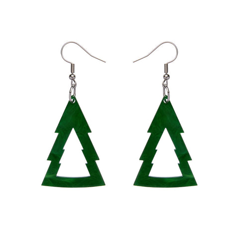 Tree Textured Resin Drop Earrings - Green (Erstwilder Woodlands Essentials Earrings)