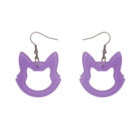 Cat Head Bubble Resin Drop Earrings - Purple (Erstwilder Halloween Essentials Earrings)