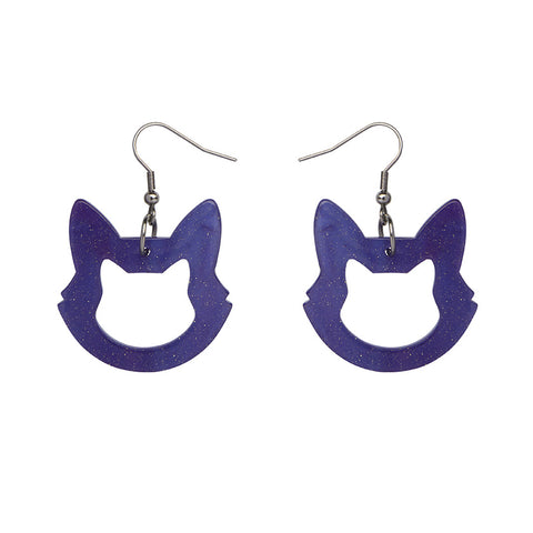 Cat Head Ripple Glitter Resin Drop Earrings - Purple (Erstwilder Halloween Essentials Earrings)