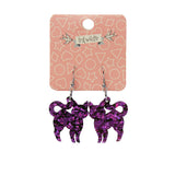 Cat Chunky Glitter Resin Drop Earrings - Purple (Erstwilder Halloween Essentials Earrings)