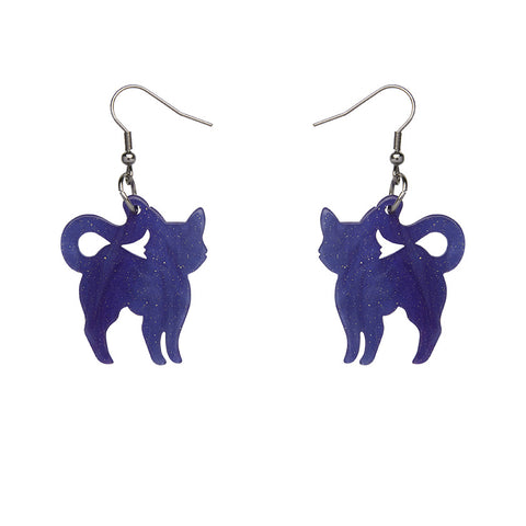 Cat Ripple Glitter Resin Drop Earrings - Purple (Erstwilder Halloween Essentials Earrings)