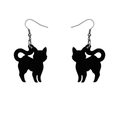 Cat Solid Resin Drop Earrings - Black (Erstwilder Halloween Essentials Earrings)