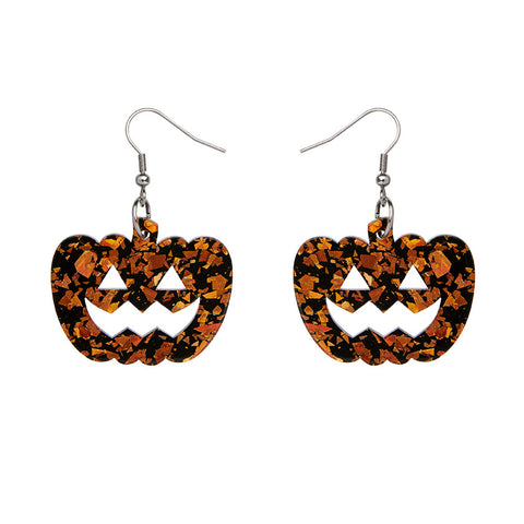 Pumpkin Chunky Glitter Resin Drop Earrings - Orange (Erstwilder Halloween Essentials Earrings)