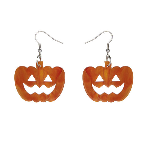 Pumpkin Ripple Resin Drop Earrings - Orange (Erstwilder Halloween Essentials Earrings)