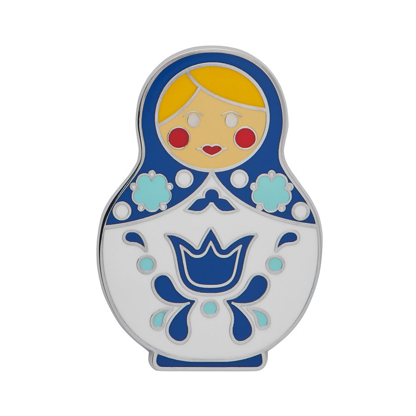 Blue Matryoshka Memories Large Enamel Pin (Erstwilder Enamel Pin)