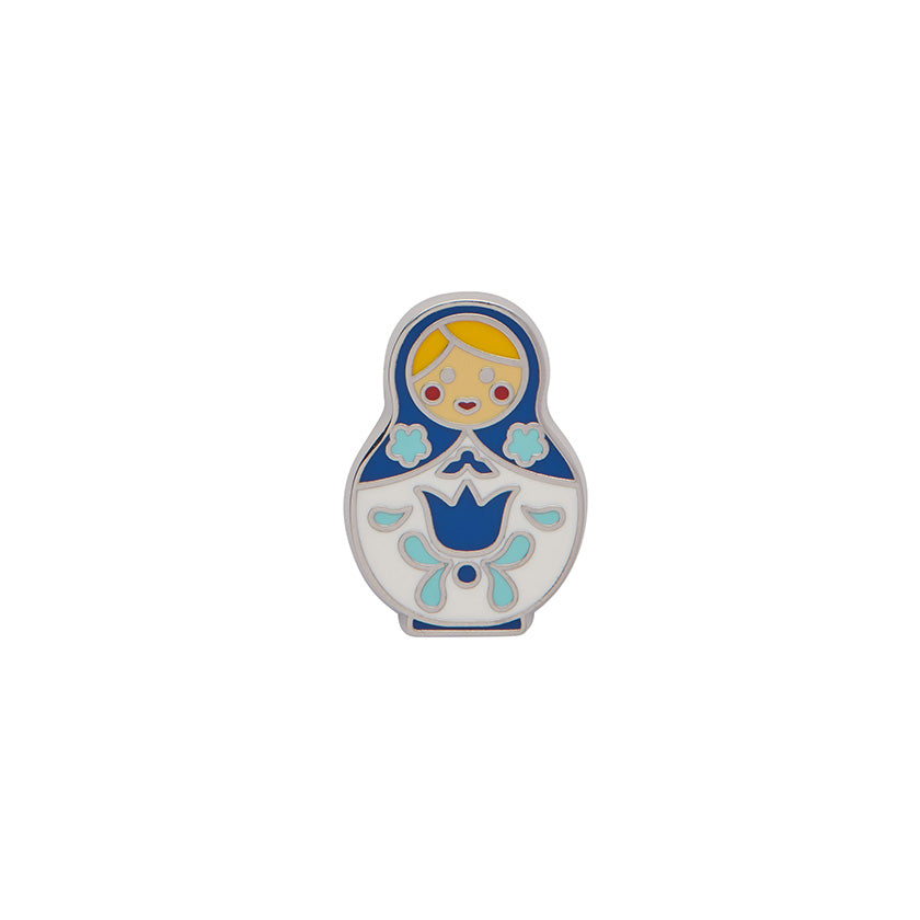 Blue Matryoshka Memories Small Enamel Pin (Erstwilder Enamel Pin)