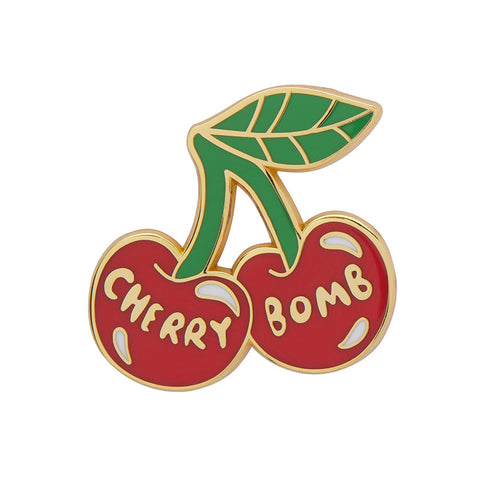 CHERRY BOMB ENAMEL PIN (Erstwilder) - Glitterally.co.uk
