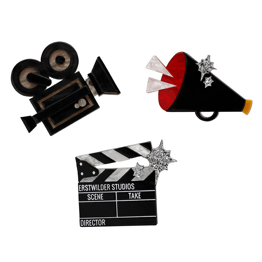 Lights, Camera, Action Brooch Set (Erstwilder Resin Hollywood Lights, Camera Action Brooch) - Glitterally.co.uk