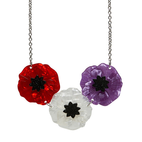Mutli-coloured Poppy Field Necklace (Erstwilder Multi-Coloured Resin Poppy Necklace) - Glitterally.co.uk
