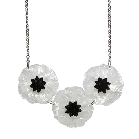 White Poppy Field Necklace (Erstwilder White Resin Poppy Necklace) - Glitterally.co.uk