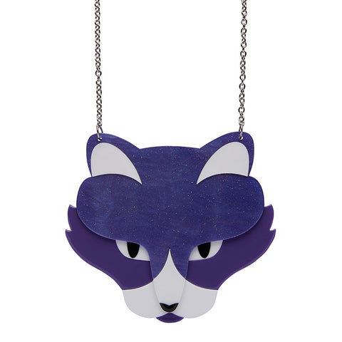LeBeau the Luscious Necklace (Erstwilder Resin Purple Cat Necklace) - Glitterally.co.uk