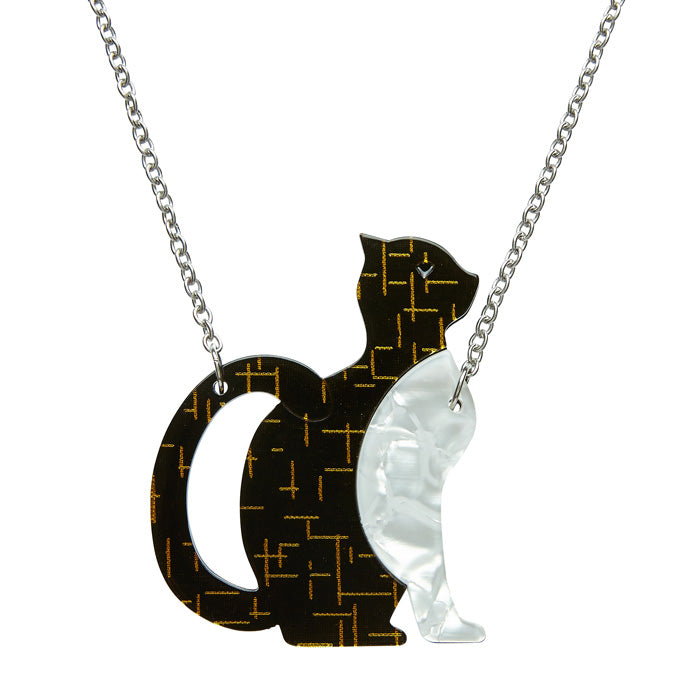Purrfectly Content (Erstwilder Black and White Resin Cat Necklace) - Glitterally.co.uk
