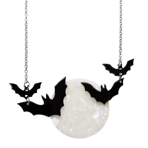 Trick or Treat  (Erstwilder White Resin Bats Necklace) - Glitterally.co.uk