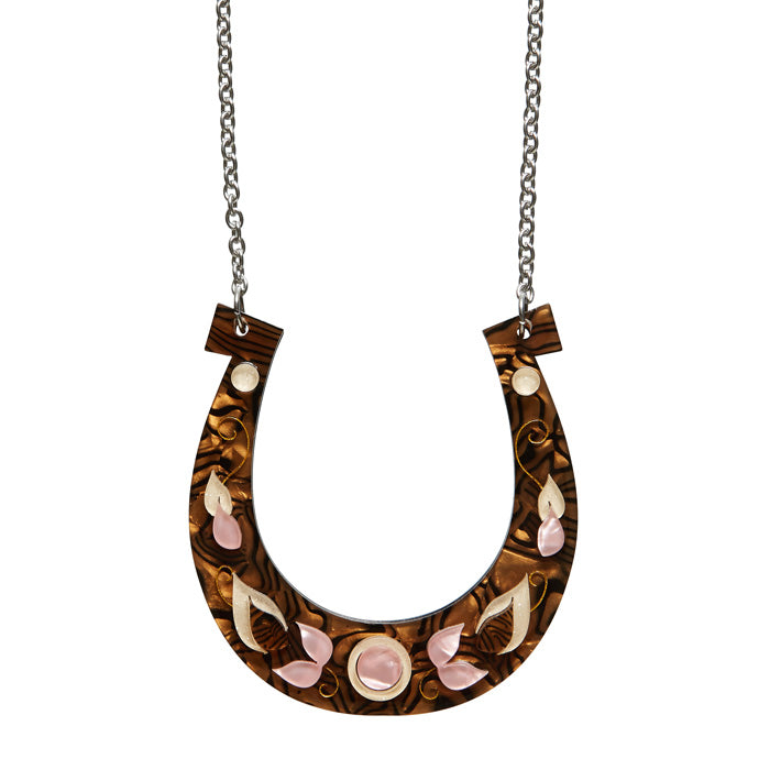 Luck's A Fortune (Erstwilder Brown and Pink Necklace) - Glitterally.co.uk
