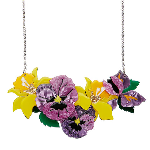 LARGE Love in Idleness Necklace (Erstwilder resin yellow and purple flower necklace) - Glitterally.co.uk